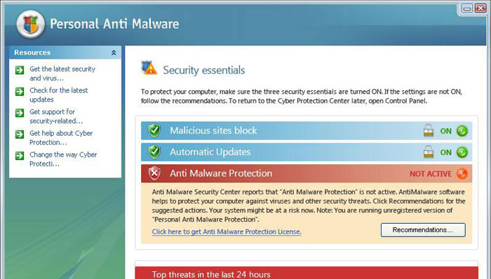 Personal Anti Malware - security essentials window
