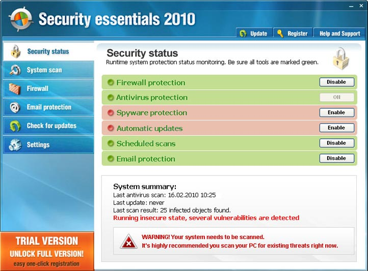 Security Essentials 2010 graphical user interface