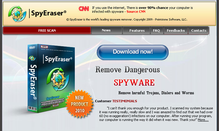 The homepage of SpyEraser scareware