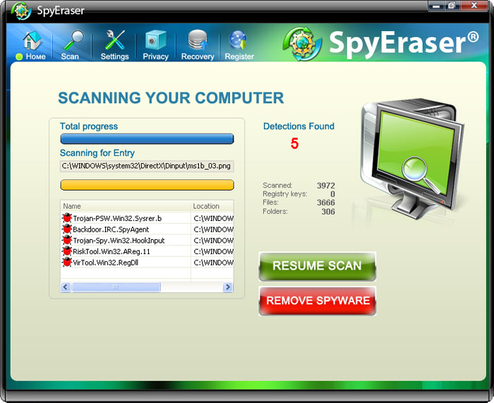 SpyEraser graphical user interface