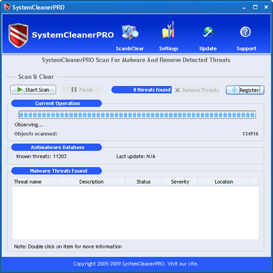 SystemCleanerPRO graphical user interface