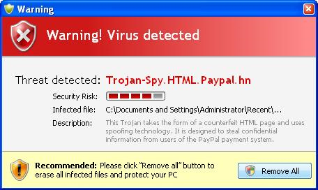 Trojan-Spy.HTML.Paypal.hn - fake security alert