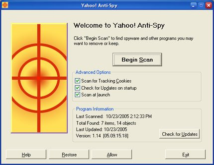 Yahoo Anti Spy software