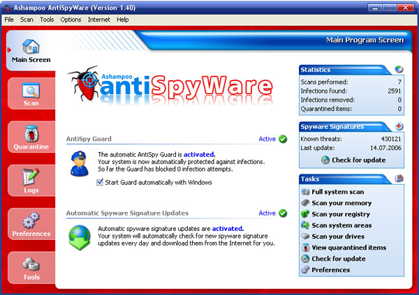 Ashampoo AntiSpyWare software