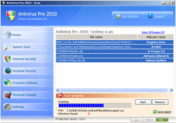 Antivirus Pro 2010 graphical user interface