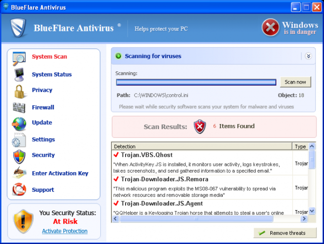 BlueFlare Antivirus removal