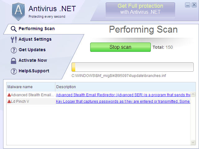 Antivirus .NET removal