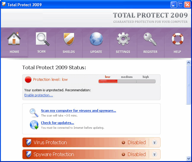 Total Protect 2009 removal
