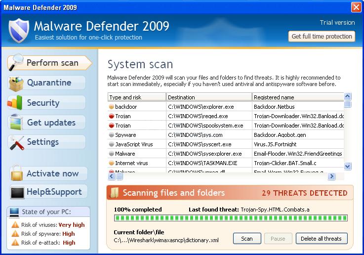 Malware Defender 2009 removal