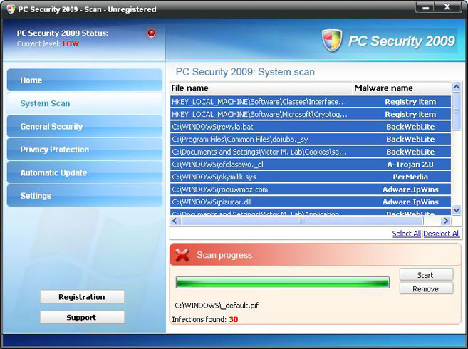 PC Security 2009 removal