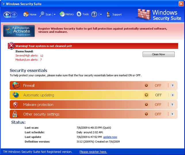 Windows Security Suite removal