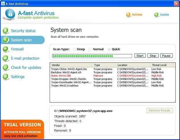A-Fast Antivirus snapshot