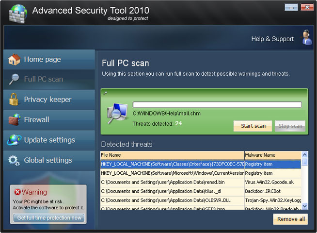 Advanced Security Tool 2010 snapshot
