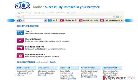 ALOT toolbar snapshot