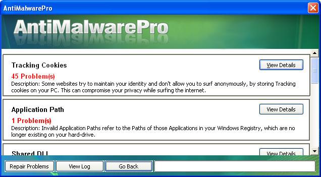 AntiMalwarePro snapshot