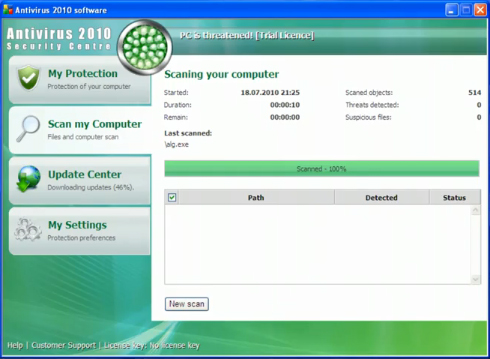 Antivirus 2010 Security Centre snapshot