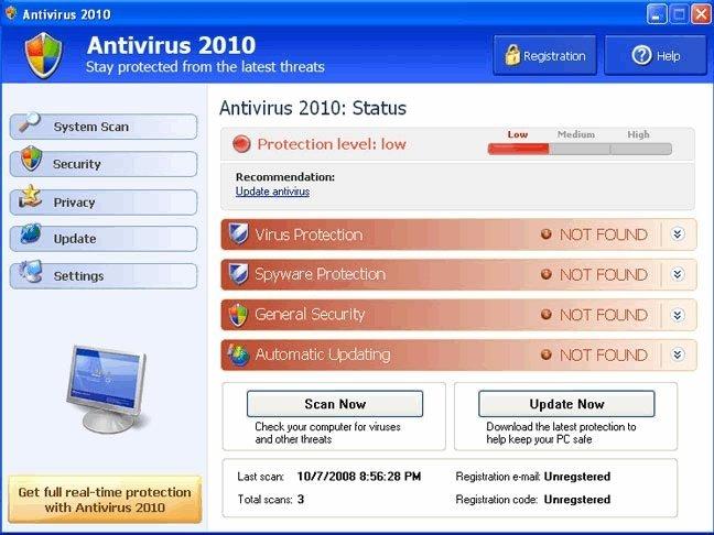 Antivirus 2010 snapshot