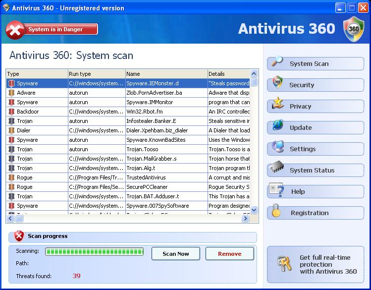 Antivirus 360 snapshot