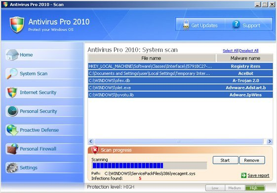 Antivirus Pro 2010 snapshot