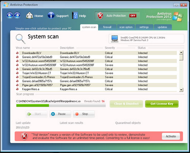 Antivirus Protection 2012 snapshot