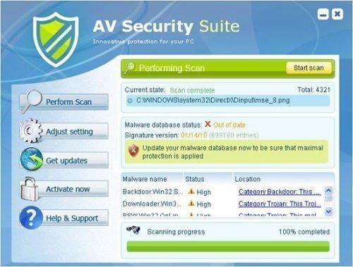 AV Security Suite snapshot