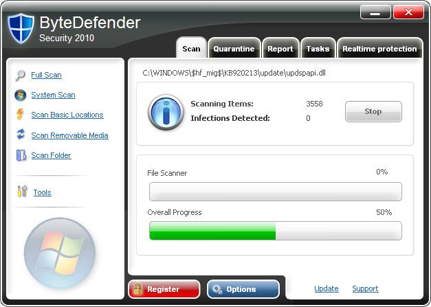 ByteDefender Security 2010 snapshot