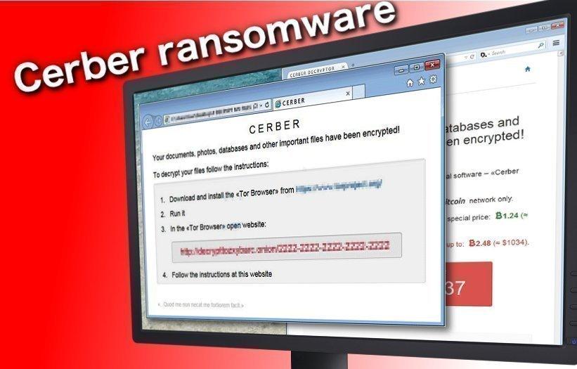 Cerber ransomware virus snapshot