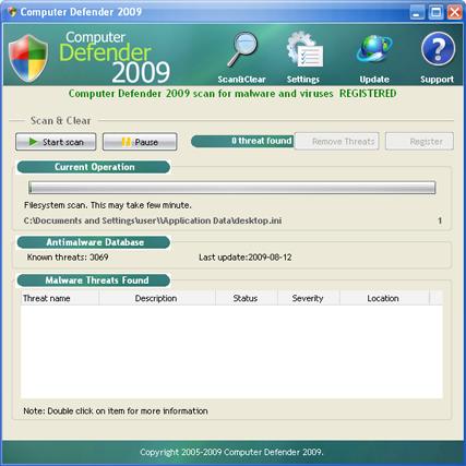 Computer Defender 2009 snapshot