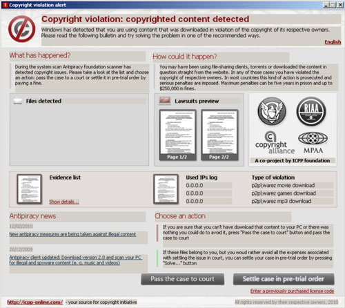 Copyright violation alert snapshot