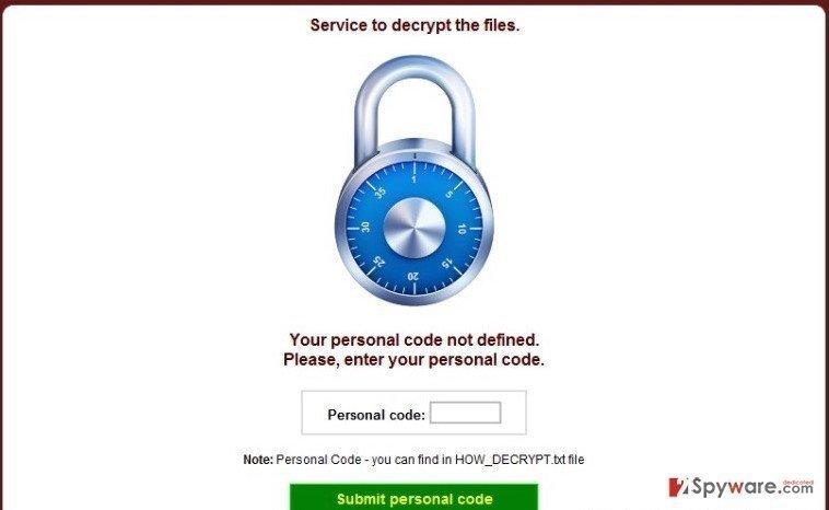 CryptoDefense virus snapshot