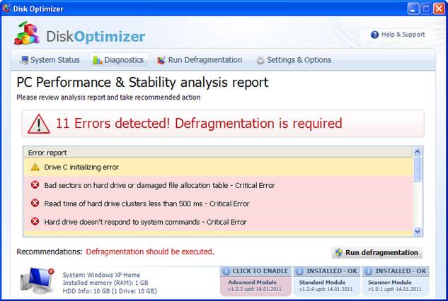 Disk Optimizer snapshot