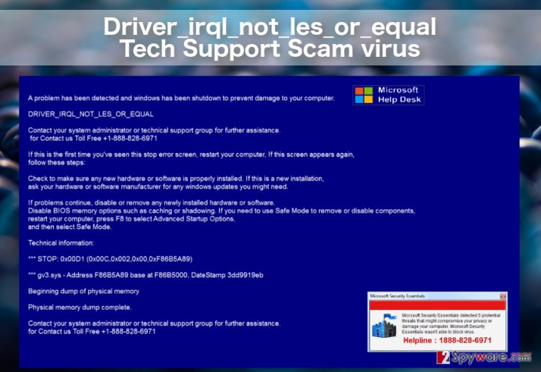 image of the Driver_irql_not_les_or_equal Tech support scam