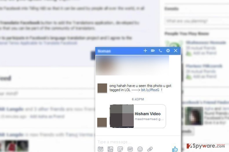Image of malicious messages that spread Facebook virus