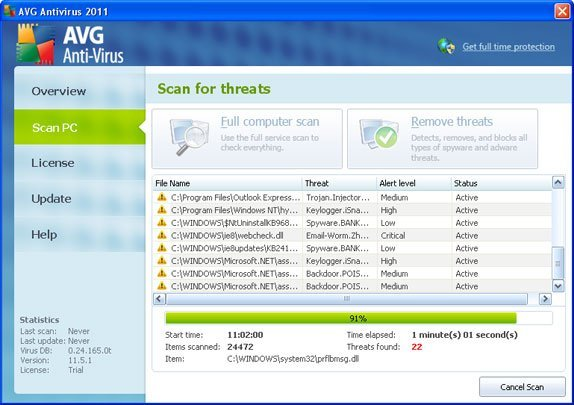 Fake AVG Antivirus 2011 snapshot