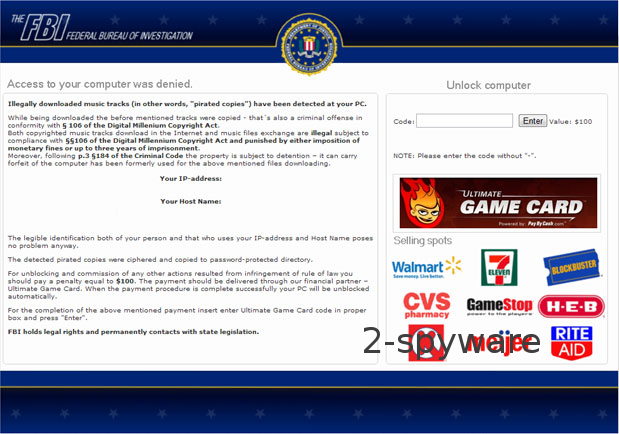 Geolocation of FBI Ultimate Game Card virus