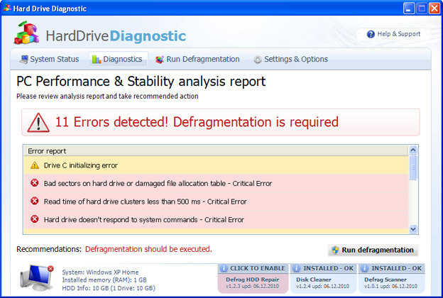 Hard Drive Diagnostic snapshot