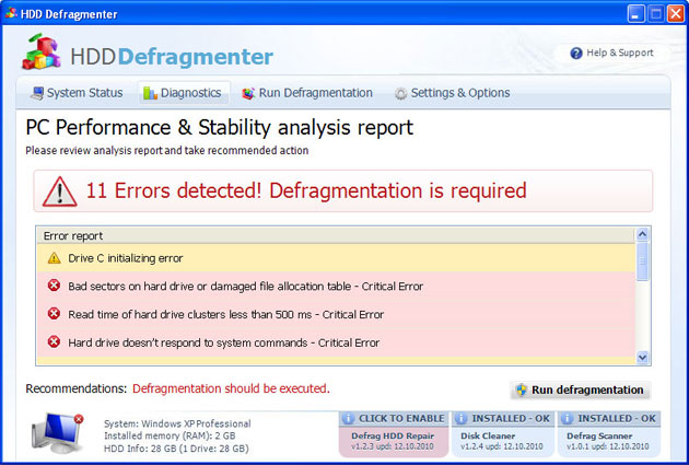 HDD Defragmenter snapshot