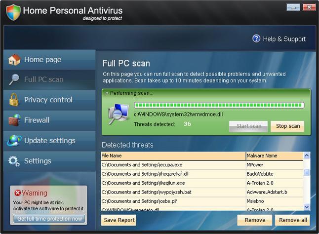 Home Personal Antivirus snapshot