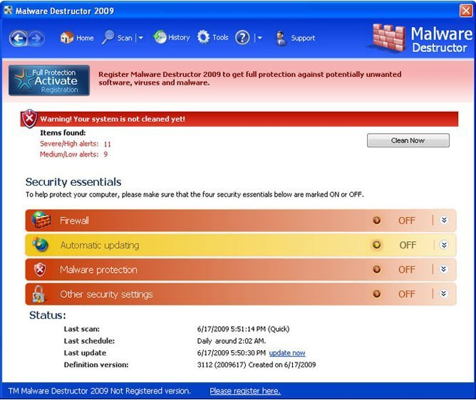 Malware Destructor 2009 snapshot