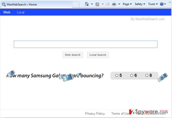 MaxWebSearch virus snapshot