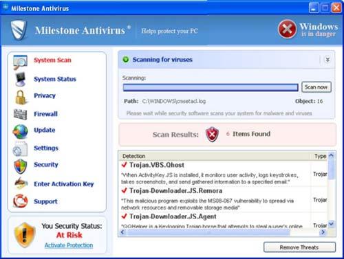 Milestone Antivirus snapshot