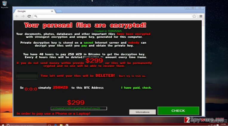 The screenshot of NoobCrypt virus