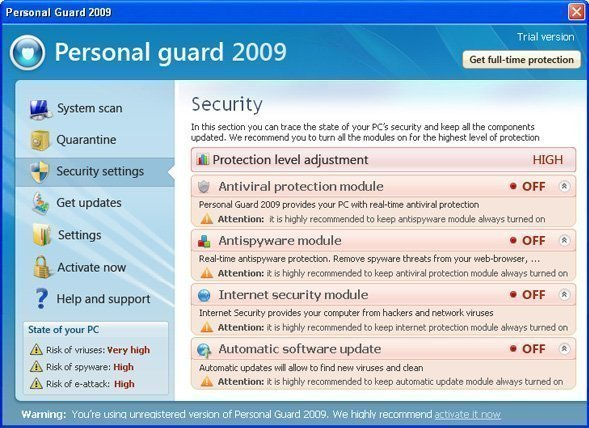 Personal Guard 2009 snapshot