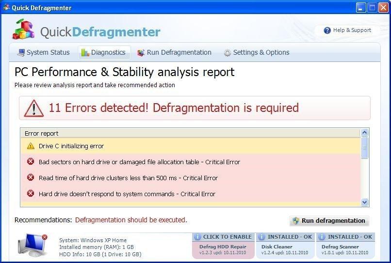 Quick Defragmenter snapshot