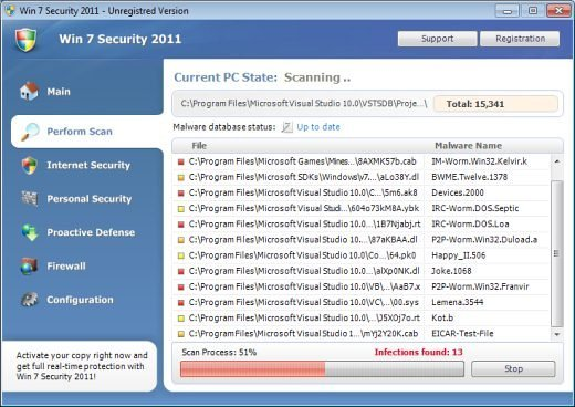 Fake Security AntiMalware Guard antiviruses for Win 7 XP or Vista snapshot