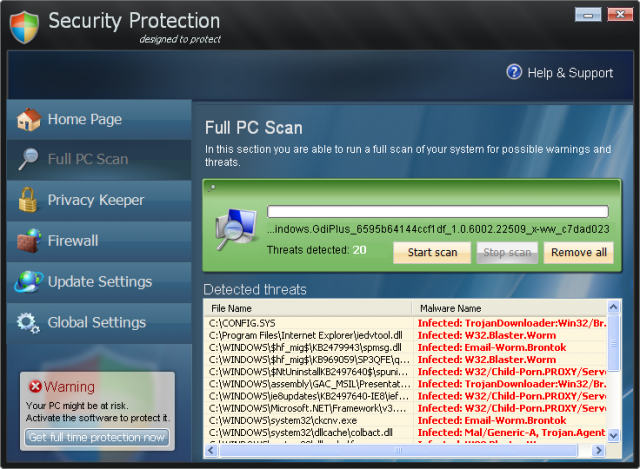 Security Protection snapshot