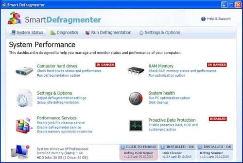 Smart Defragmenter snapshot