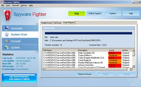 Spyware Fighter snapshot