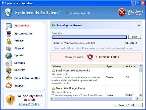 Sysinternals Antivirus snapshot