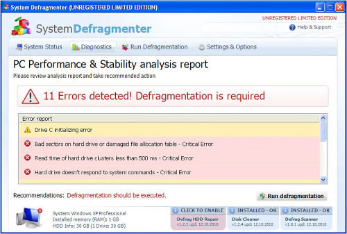 System Defragmenter snapshot